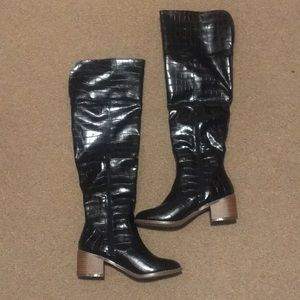 Over the knee faux croc boots
